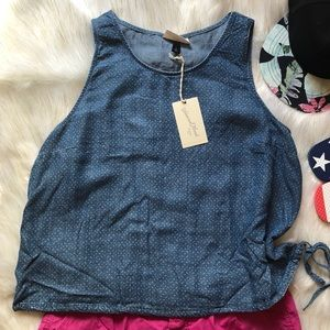 Chambray Cropped Top with Ties, Sz. XL Very Light